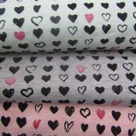 Malha jersey corações