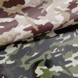 Tecido plastificado camuflado