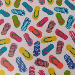 Tecido plastificado chinelos
