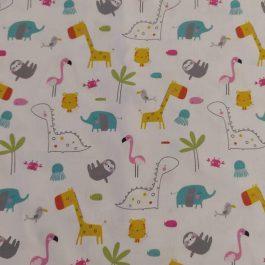 Tecido animais coloridos